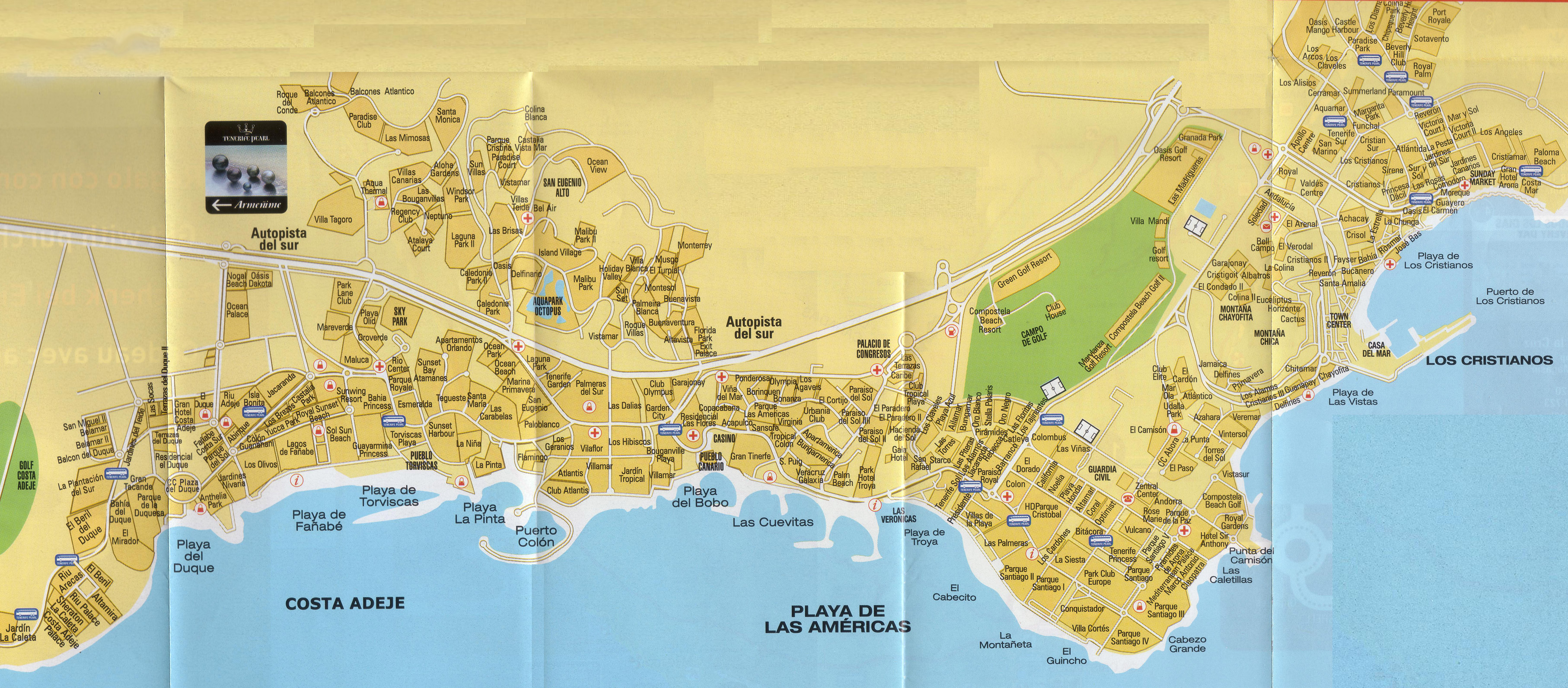 Costa Adeje Map Tenerife Map   Tenerife Island Maps   Map of Tenerife