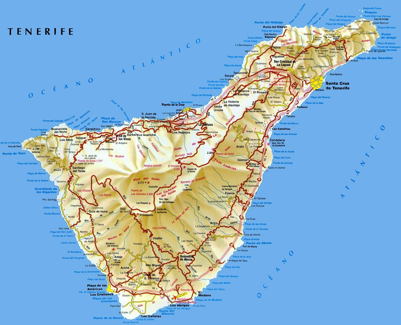 Map Of South West Coast Of Spain.Tenerife Map Tenerife Island Maps Map Of Tenerife