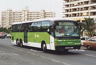 titsa bus 343 abfahrt vom flughafen